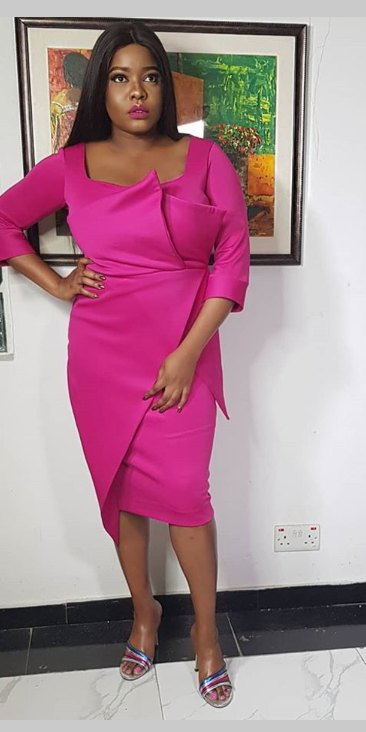 Arese Ugwu rocking a purple dree for her Instagram page