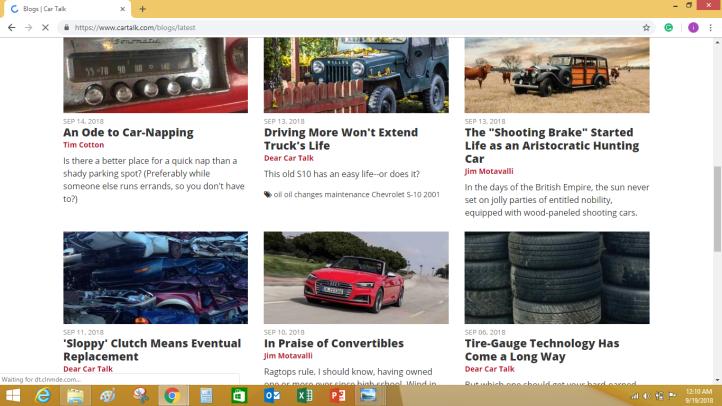 An automobile blog niche