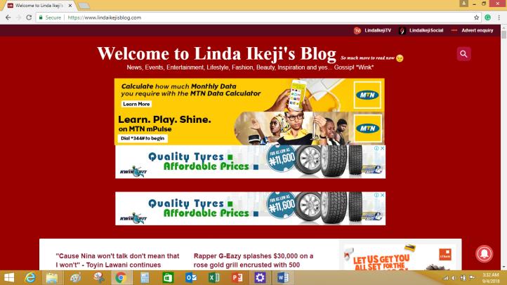 Top Banner Ad on Linda Ikejis blog