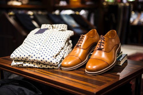 Brown pair of shows in a men fashion blog