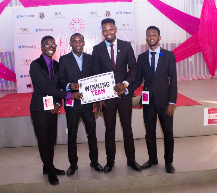 Four students who won at the Hult Prize competition OAU